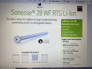 Somfy Motor for window blinds with remote and charger, Sonesse® 28 WF RTS Li-Ion