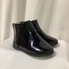 Girls River Island Black Patent Ankle Boots Size UK4 EU21 Infant Toddler Exc Con
