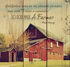 So God Made a Farmer Old Red Barn 10x10 Wood Pallet Design Wall Art Sign Plaque