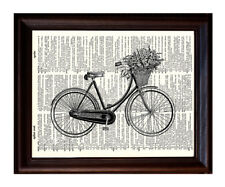 Bicycle with Basket - Dictionary Art Print Printed On Authentic Vintage