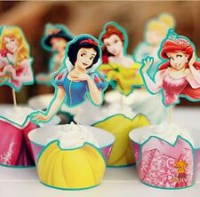 DISNEY PRINCESS CUPCAKE TOPPERS & WRAPPERS 24PCS / BIRTHDAY PARTY CINDERELLA
