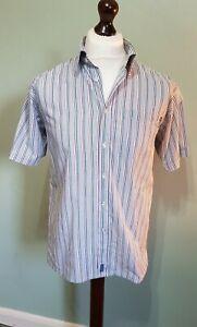Men's Le Shark Short Sleeved Blue Multi Coloured Striped Cotton Shirt Size L