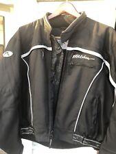 FIELDSHEER Men's Black/White Leather Padded Motorcycle Jacket Size 44