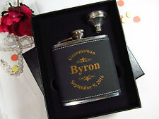 Personalized Flask Gift Box Groomsman Best Man Engraved Black Leather Funnel LGO