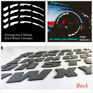 """8 Set Waterproof Reflective Tire Lettering Car Wheel Decal Stickers 15-22"""" Tires"""
