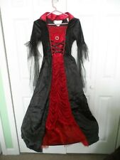 Girl's size Large Goth Princess Witch Long Black and Red Dress Costume