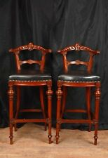 Pair Victorian Hand Carved Mahogany Bar Stools Seats