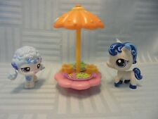LITTLEST PET SHOP LPS 1964 1965 BLUE WHITE STAR PONY POM POODLE ACCESSORIES SET