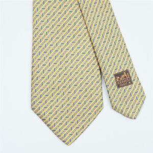 HERMES TIE 758924 T Horseshoe Striped on Dark Blue Classic Heavy Silk Necktie