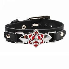 Anime Naruto Syaringan Logo Leather Bracelet Wristband Cosplay Jewelry Gift Hot