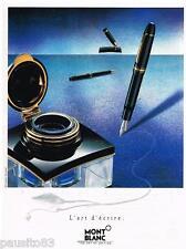 PUBLICITE ADVERTISING  105  1992  MONT BLANC  stylos l'art d'écrire