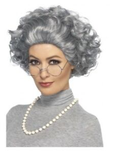 Granny Wig Old Lady Grandma Queen Nanna Grey Necklace Glasses Fancy Dress