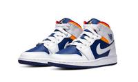 Nike Air Jordan 1 Mid Shoes White Laser Orange Blue 554725-131 GS NEW