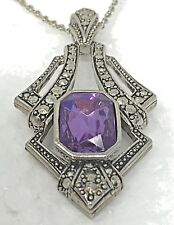 PENDANT Purple glass stone Marcasite ART DECO Flair Long silver CHAIN INCLUDED