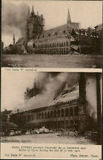 C1915/WW1 2 Views: Halles of Ypres on Fire , November 1914, Beligum