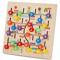 Wooden Alphabet Maze Board, ABC 26 Letters Match Puzzle Learning Toys