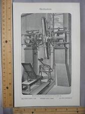 Rare Antique Orig VTG Meridienkreis Astronomy Telescope Illustration Art Print
