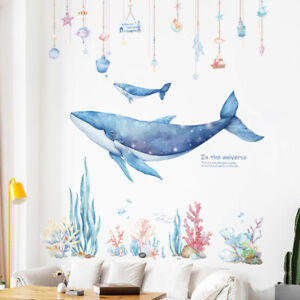 Large DIY Star Dream Whale Coral Sea PVC Vinyl Nursery Mural Decal Wall Sticker