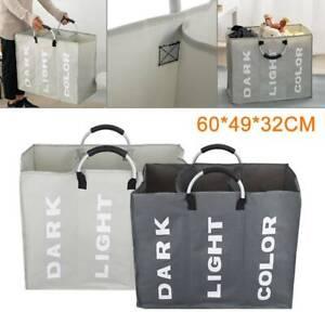 Laundry Clothes Basket Wash Hamper Bin Aluminium Folding Grids Dirty Storage Bag