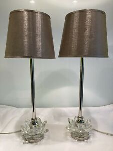 Pair Of Contemporary RV Astley Polished Nickel & Glass Table  Lamps With Shades