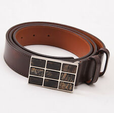 New $395 SANTONI Dark Brown Calf Leather Belt with Inlaid Horn Buckle 44 W + Box
