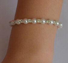 Fashion Elegant Silver Plated Crystal Pearl Bracelet Bangle Cuff Wedding Party