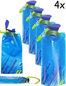 OUTDOOR SAXX® 4x faltbare platz-sparende Trink-Flasche mit Karabiner 700ml blau