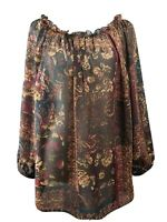 Chaps 1X tunic blouse elastic neck brown eggplant purple paisley floral sleeves