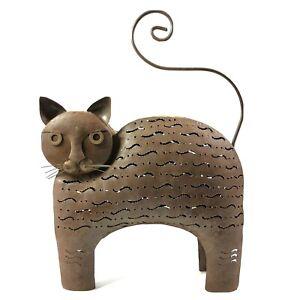 Metal Art Cat Candle Holder Sculpture Floor Art