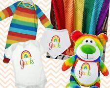 RAINBOW BABY BIB VEST BLANKET TEDDY PYJAMAS ALL IN ONE PERSONALISED EMBROIDERED