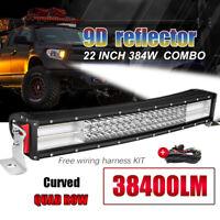 22'' 384W 9D courbe Barre LED Rampe Light bar phare de travail SUV ATV 4x4+ wire