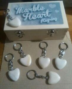 Marble Heart Shaped Key Ring