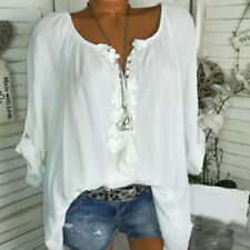 Womens Floral Crochet Loose Casual Blouse Tunic Tops Plus Size V Neck Tee Shirts