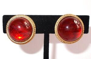 Vintage 80's Vintage CAROLEE Glass GRIPOIX Cabochon Matte Gold Clip Earrings