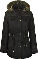 Womens Ladies Parka Jacket Quilted PU Faux Fur Trim Hooded Parker Size 10-24
