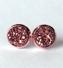 ROSE GOLD SPARKLING DRUZY RESIN BROWN/GOLD ROUND CLIP ON EARRINGS 12MM