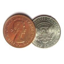 Copper Silver Kenndy Half Dollar English Penny Coin Magic Trick 2 Coin Set