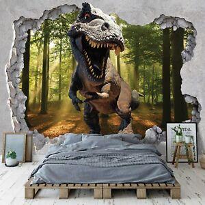 KINDERZIMMER Vlies Fototapete Loch - Dinosaurier Mauer Dino Tyrannosaurus 821