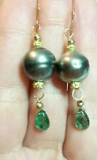 Tahitian grey black Pearl Zambian Emerald pear drop dangle earrings 14k gold