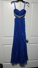 New Women Off Saks 5th Avenue La Femme Saphire Blue Formal Prom Dress Size 2