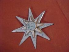 Crest Regal Starbust  Maltese Layered Blue White Gold Layered Pin Brooch Enamel