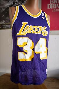 Rare Vintage Los Angeles Lakers Shaquille O'neal #34 Champion Jersey Sz 40 EUC