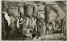 "JAMES ABBOTT MCNEILL WHISTLER ETCHING ""THE FORGE"" 1861 AMERICAN/BRITISH  FRAMED"