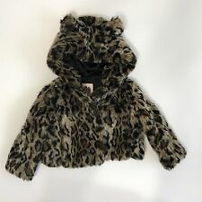 Juicy Couture Girls Faux Fur Cropped Animal Leopard Print Swing Jacket Coat Hood
