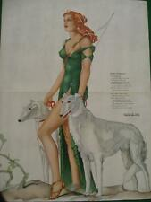 March 1941 Varga Girl Esquire Gatefold Pinup Art Deco Diana w/ Borzoi Dogs MINT
