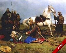 DEATH OF HERVOR SHIELD MAIDEN OF THE MAGIC SWORD PAINTING REAL CANVAS ART PRINT