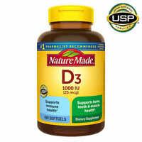 Nature Made D3 25mcg 650 Softgels Vitamin D Supports Bone Teeth & Muscle Health