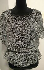 Dressbarn 4Petite blouse beaded neckline animal print shirt top
