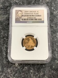2009-S US BRONZE LINCOLN 1C FORMATIVE YEARS NGC GRADED PF69 RD ULTRA CAMEO! NR!
