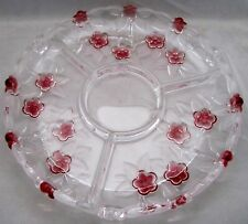 """Mikasa CARMEN SATIN ROSE Pink Floral Frosted Leaves 3 Section 12"""" RELISH PLATTER"""